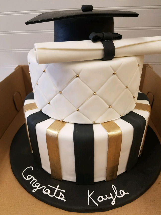 Graduation Cake with cap and diploma or degree